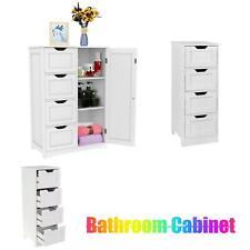 Bathroom Freestanding Floor Cabinet Storage Draws Cupboard Wood Organizer White
