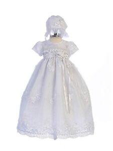 Exquisite Lace Detail Baby Girl Christening Dress Hat Set, Crayon Kids USA BC238