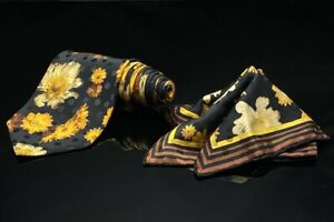 BRIONI NECK TIE + SILK  ITALY BLACK YELLOW FLORAL DOT BACKGROUND & handkerchief