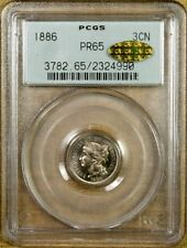 1886 PCGS PR65 Three Cent Nickel - Old Green Holder - CAC GOLD !!!