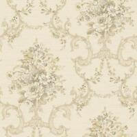 Wallpaper Classic Floral Bouquet Damask Scroll Olive Green Gold Gray on Cream