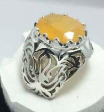 12 Carat Semi Transparent Dark Yellow sapphire Ring Pukhraj Rings Gemstone Rings