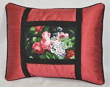 Pillow made w Ralph Lauren Isadora Cossette Black Floral & Rose Silk Fabric NEW