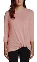 New Matty M Women's 3/4 Sleeve Knot Front Top Size X-Small Petal Pink