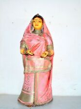 Vintage Old Fiber Made Painted Decorative 38'' Big Indian Woman Figure Statue