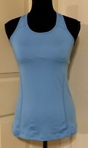 Womens Nike Dri Fit Blue Racerback Tank Top W/ Built-In Padded Bra Size Medium