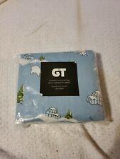 GT Heavy Weight Flannel Blue Polar Bear Twin Fitted Sheet G396
