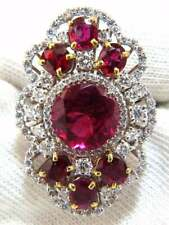8.14Carat Round Tourmaline Rubellite Ruby Cubic Zirconia Engagement Cluster Ring