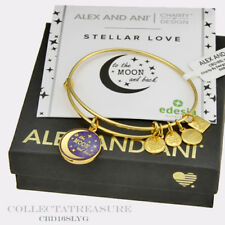 Authentic Alex and Ani Stellar Love Yellow Gold Charm Bangle CBD
