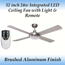52 inch Silver LED Ceiling Fan with 24 Watt LED Cool White Light and Remote