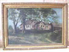 "Vintage VICTORIAN Wood FRAME,Oil/Canvas HOMESTEAD Painting,16""x24"""