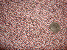 "Vintage Cotton Fabric TINY BLUE & MAROON CALICO FLORAL ON WHITE 1 Yd/42"" Wide"