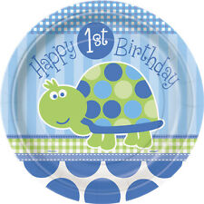 First (1st) Birthday (Boy) TURTLE 8 PAPER PLATES - 23cm (Party/Decoration)