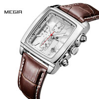 MEGIR Quartz Men Watch Leather Watches Men Chronograph Watch Male Luminous Watch
