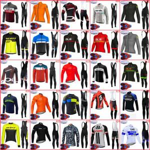 Winter Mens Long Sleeve Bike Outfits Cycling Thermal Fleece Jersey Bib Pants Set