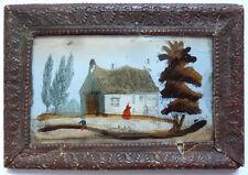 Petite peinture fixé sous verre 19e siècle gravure painting