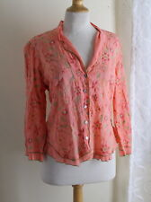 J.Jill -Sz L Most Fantastic Art-to-Wear Quirky Embroidered Rayon 3/4 Shirt Top