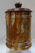 "#shlf Large Heavy Banded Onyx Stone Humidor Lidded Jar, chalcydony 9 1/2"" high"