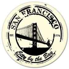 "San Francisco California Travel Stamp Sea bumper sticker decal 4"" x 4"""