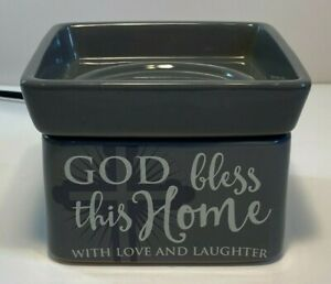 God Bless This Home With Love Grey 2-In-1 Jar Candle and Wax Tart Oil Warmer