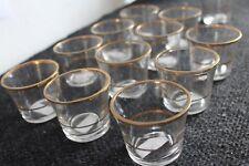 12 er Set  Teelichtgläser Antikgold Gläser mit goldfarbenden Streifen Repro F4