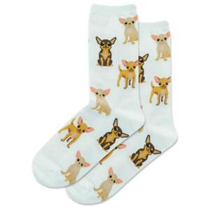 Chihuahua's Hot Sox Women's Crew Socks Lt Blue New Novelty Taco Dog Fashion