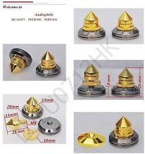 16x Spike Cone 16x Gold Base Pad Shoe Isolation Turntable Speaker HiFi Kit Set
