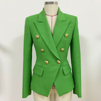 New Green Autumn Women's Luxury Designer Inspired Fitted Blazer Buttons Coats