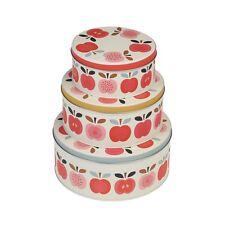 dotcomgiftshop SET OF 3 VINTAGE APPLE DESIGN CAKE TINS