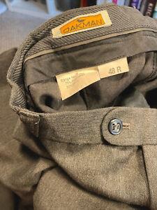 Oakman Mens Tailored Wool Blend Trousers Size 48R