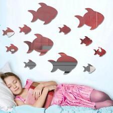 12x Removable Art Modern Fish Mirror Wall Sticker Decal Mural Home Decor