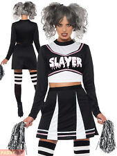Fever Gothic Cheerleader Costume Black With Crop Top Skirt & Pom Poms