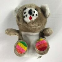 """Link & Pan Plush Bear VTG Colorful Rainbow Paws Teddy Dotted Face 9"""" Stuffed Toy"""