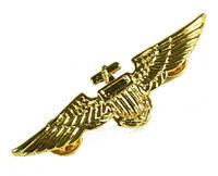 Gold Metal Pin Pilot Captain Badge Wings Military Captains Fancy Dress