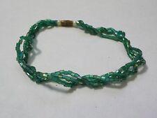 """Vintage 7 1/4""""  Bracelet Green Beads Triple Twisted Strands Bracelet"""