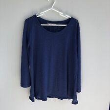 Soft Surroundings Women's Size L Large Navy Blue 3/4 Sleeve Tunic Top Slub Knit