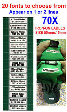 70x Iron-On Name Labels Tags Printed, School, Nursing Home, (Appear on 2 lines)