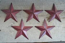 "Set of 5 ~ 5.5""  BURGUNDY BLACK BARN STARS Metal Tin  Primitive Country 5 1/2"""