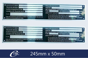 2x Large 245mm Trailer VIN Aluminium Plate Number Compliance Tag Car Bike Boat