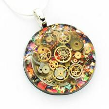 STEAMPUNK  NECKLACE PENDANT STERLING SILVER FIRE OPAL  COGS   RESIN HAND MADE