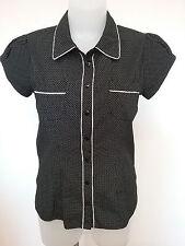 DIANA FERARRI Size 8 Polka Dot Cotton Short Sleeve Rockabilly Top Shirt Blouse
