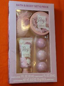 Rose Bath And Body 6 Piece Set - Body Lotion & Scrub, Bath Fizzer & Body Pouf