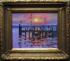Pier at Sunset : Original Impressionist Oil Painting : Karen Rice