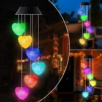 Color Changing Solar Powered LED Heart Wind Chimes Light Garden Patio Decor Lamp