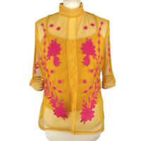 River Island Size 14 Yellow Pink Embroidered Sheer Top Blouse High Neck Boho