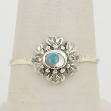 Handmade Vintage 925 Sterling Silver Ring Size 7 - 10mm Flower - Mop, Fire Opal