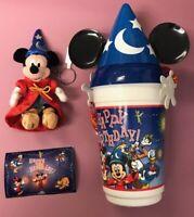 Disney Parks Sorcerer Mickey Mouse Happy Birthday Popcorn Bucket & Keychain