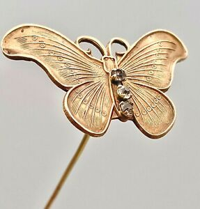 Antique Hatpin Striking Gold Butterfly. Clear Rhinestone Accents. Lovely Example