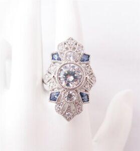 Art Deco Sterling Cubic Zirconia Clear Blue Milgrain Filigree Style Shield Ring