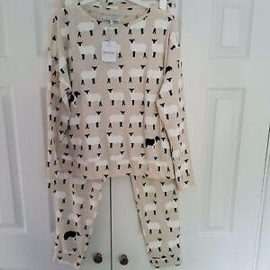 NEXT Womens Ecru Sheep / Dog Cotton Pyjamas SIZE MEDIUM PETITE 12 - 14 New
